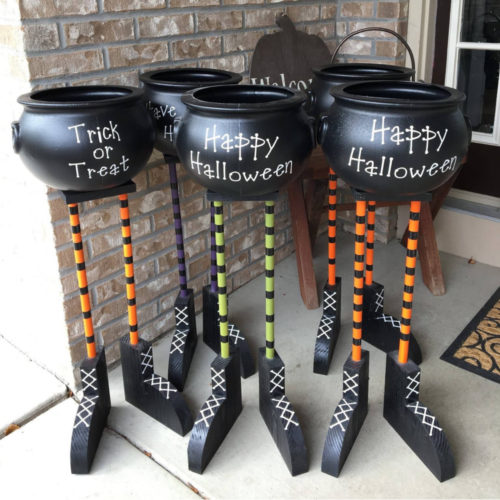 Halloween cauldron candy bowl with witch feet